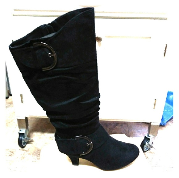 cbad8a3f95c New women's mid-calf 2 buckle fashion dress boot